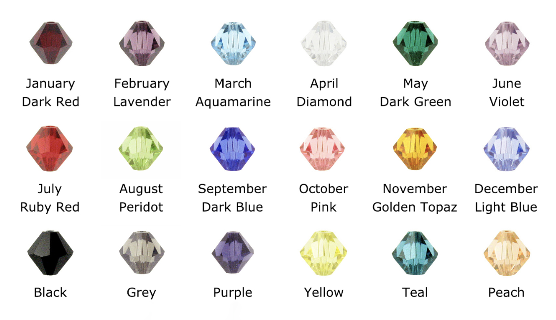 Cancer Colors in Diamond or Bicone shaped Swarovski Crystal Beads