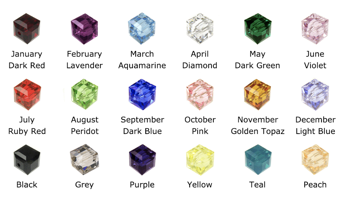 Cancer Colors in Square or Cube Swarovski Crystal Beads