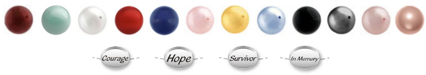 warovski Pearls and Survivor, Courage, Hope and In Memory beads