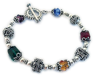 Large Bali Bracelet with Large Colorful Crystals