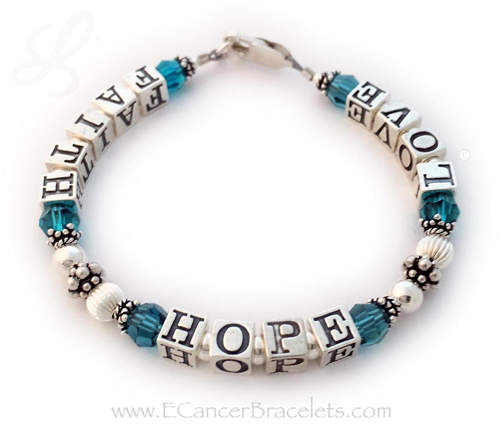 "CBB-R23 The teal ribbon bracelet signifies support for polycystic ovarian syndrome (PCOS) and ovarian cancer. This bracelet comes with a matching crystal dangle and ribbon charm. They choose not to include those. This is a 7"" bracelet."