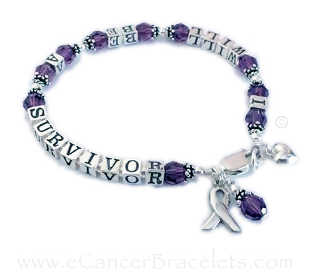 Pancreatic Cancer Ribbon Bracelet - I will be a survivor message