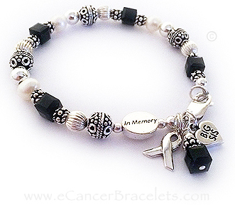 In Memory Of My Sister Black Ribbon Bracelet With Crystals For Melanoma Awareness