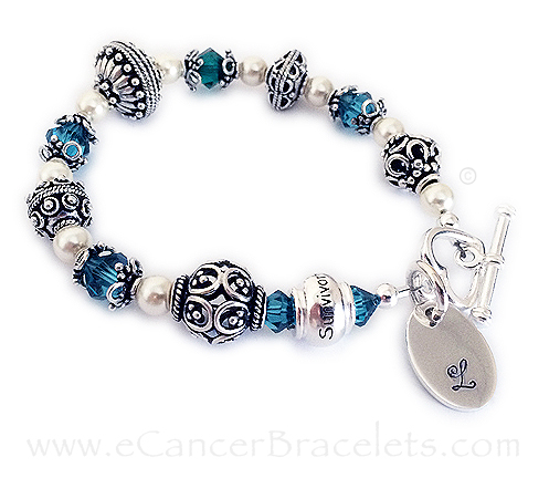 Survivor Bracelet with a Monogram Charm and Heart Toggle Clasp CBB-Bali-4