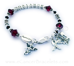 Red Ribbon SURVIVOR Bracelet with an Angel Charm, Survivor bead, Butterfly Charm and a Ribbon Charm. CBB-R27