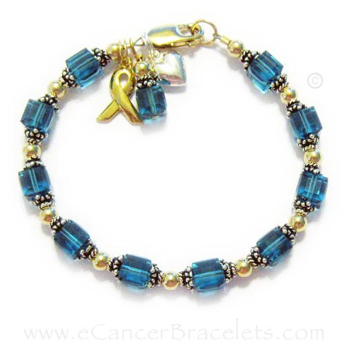 Uterine and Ovarian Cancer Bracelet with Ribbon