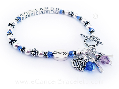 Colon Cancer Survivor Ribbon Bracelet with a Mom charm and Cross Charm and a Courage Bead