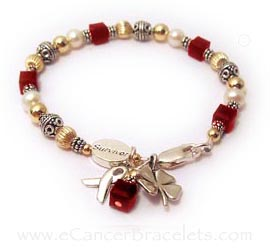 AIDS Awareness Red Ribobn Bracelet with Survivor Bead