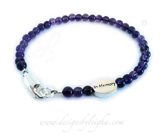 Amethyst Gemstone In Memory Bracelet - any gemstone! -CBB-R60