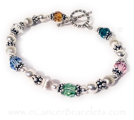 Multi colored Cancer Awareness Bracelet with 6 different cancer colors. CBB-R49