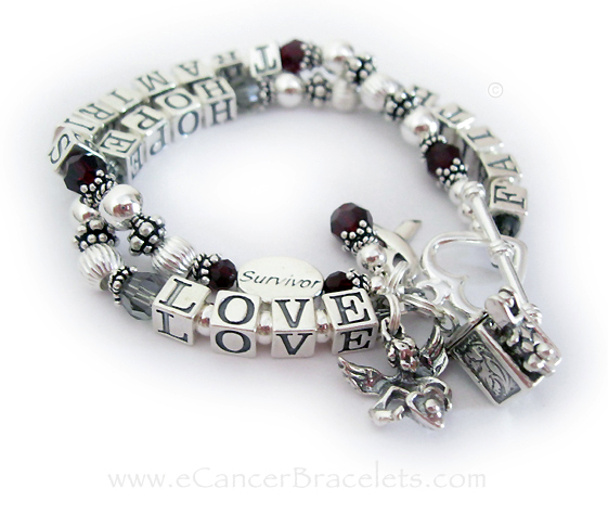 Brain Cancer bracelet with Name, Prayer Box Charm, Angle Charm, Ribbon Charm and Birthstone Crystal Dangle