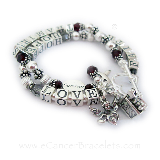 Faith Hope Love Survivor Brain Cancer and Aneurysm Survivor Bracelet CBB-R23-2string
