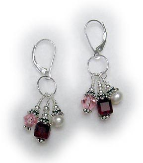 Survivor Earrings Pink, Red and Pearls
