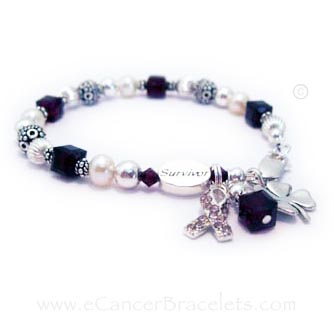 purple and pink ribbon bracelet