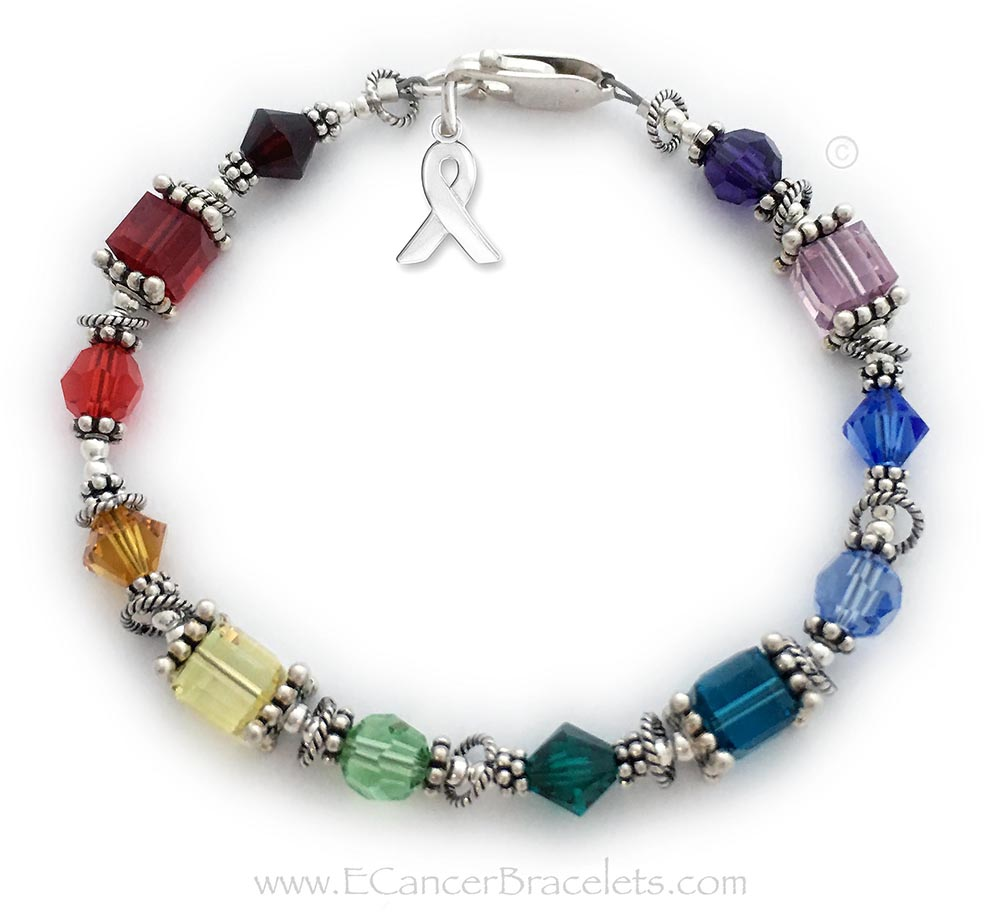 CBB Ribbon 62 This all cancer colors bracelet is shown with COLORFUL Square, Round and Diamond shapped Swarovski crystal colors and it includes the ribbon charm. They picked a sterling silver Lobster Claw Clasp.