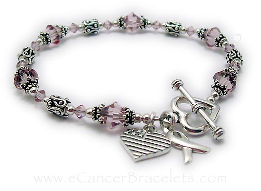 CBB-R27B Colors: Light Purple or Light Amethyst  Clasp: Heart Toggle *an upgrade from the free option* Additions: 2 Charms: Ribbon Charm & Heart Flag Charm