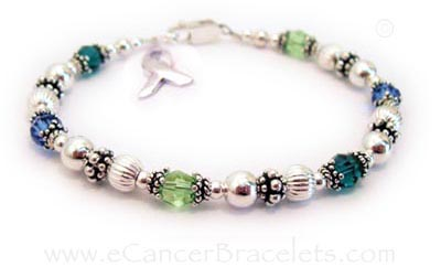 Multi color cancer bracelet - CBB-R49 without Ribbon Charm - Colon Cancer, Liver Cancer & Lymphoma Ribbon Bracelet