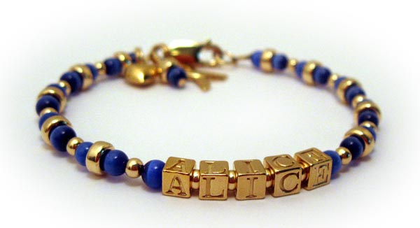 Colon Cancer Bracelet with Gold Beads