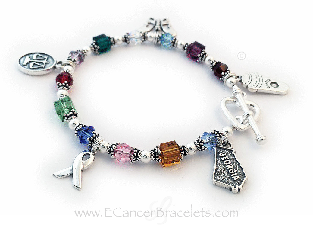 Custom Charm Bracelet - Charms: Ribbon, Georgia, Coffee, Medical, Butterfly