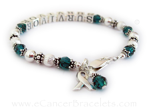 SURVIVOR Green Ribbon Bracelet with Green Ribbon Charm