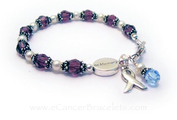 Pancreatic Cancer Ribbon Bracelet with an IN MEMORY Bracelet - CBB-R31