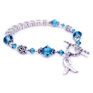 Uterian Cancer Survivor Bracelet with Teal crystals a sterling silver Ribbon charm. CBB-R27