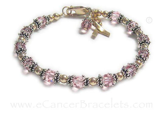 Friendship Bracelet with gold and pink crystals with a gold ribbon charm. CBB-R32 - pink ribbon bracelet