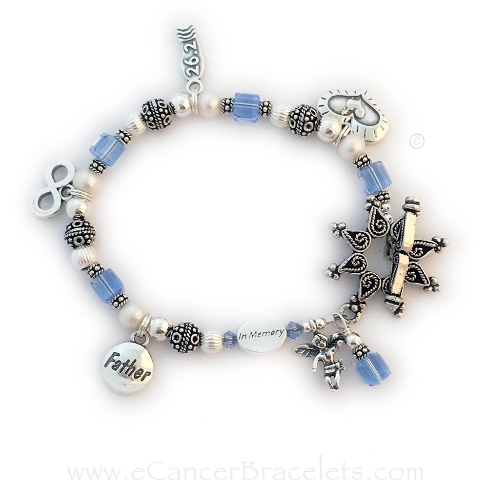 Cancer Awareness Charm Bracelet with 6 charms with an upgraded Star Toggle clasp. They also added an In Memory bead.