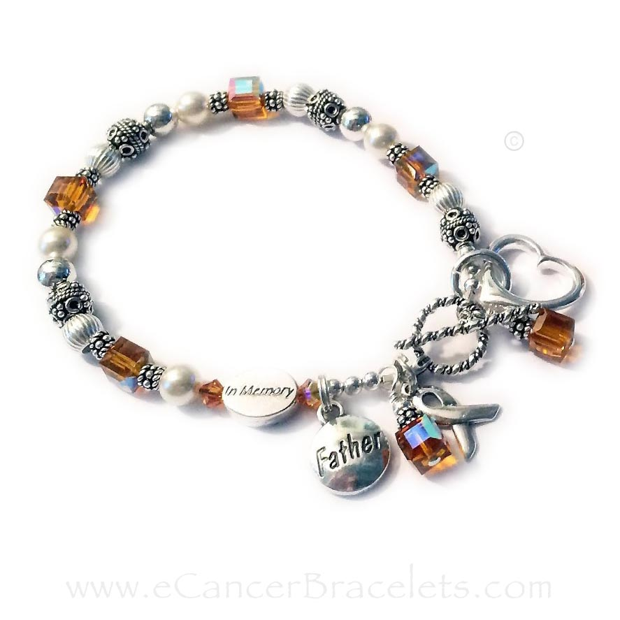 CBB-CB-1 - Orange Ribbon Charm Bracelets (Leukemia shown) I will put the charms as evenly spaced as possible around the bracelet. They requested that the charms all stay around the clasp. Add-ons and Charms shown: 1) IN MEMORY beads, 2) FATHER charms, 3) Open Heart Charms, 4) November Crystal dangles #1, 5) November Crystal dangles #2