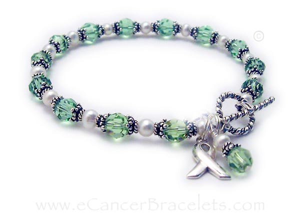 Celiac Disease Ribbon Bracelet with Pearls and Ribbon Charm - CBB-R31