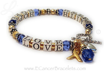 Gold Faith Hope And Love Colon Cancer Blue Ribbon Bracelet