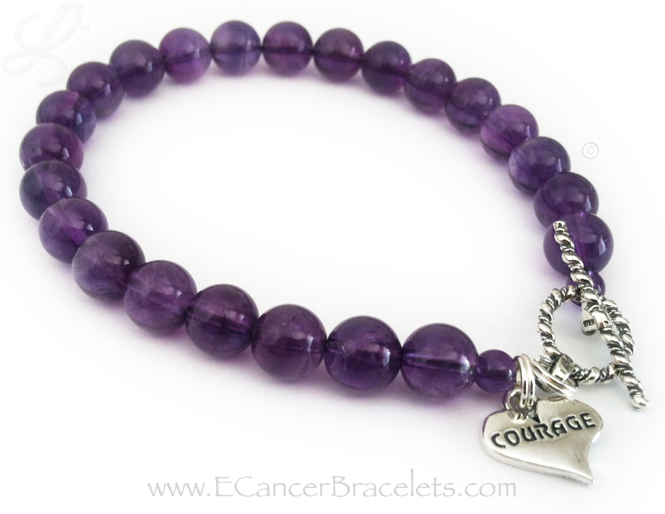 Courage in a Heart Charm  with Amethyst beads