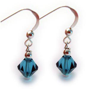 Teal Diamond Earrings by Swarovski -  teal signifies support for polycystic ovarian syndrome (PCOS) and ovarian cancer
