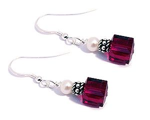 Red 8mm Square Earrings