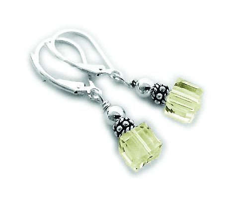 Yellow 6mm Square Crystal Earrings