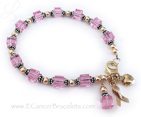 Pink Ribbon Bracelet with gold beads, gold clasp and gold ribbon charm. CBB-R29