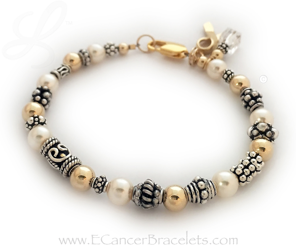CBB-Ribbon 42Gold This bracelet comes with the any color crystal dangle and Gold Ribbon Charm.  This bracelet is shown with the upgraded Gold Lobster Claw clasp.  Clear Crystals - Lung Cancer Ribbon Bracelet or Bone Cancer Ribbon Bracelet