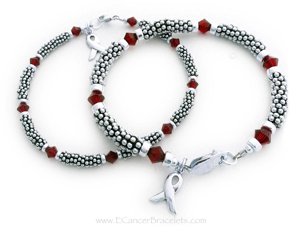 Here are 2 bracelets shown: One is a 1-string Red Ribbon 6mm Rope Bracelet with a Ribbon Charm and a Lobster Claw Clasp. The Sterling Silver Rope Chain Beads and Swarovski Crystals are 6mm. The other one is a 1-string Red Ribbon 4mm Rope Bracelet with a Ribbon Charm and a Lobster Claw Clasp. The Sterling Silver Rope Chain Beads and Swarovski Crystals are 4mm.