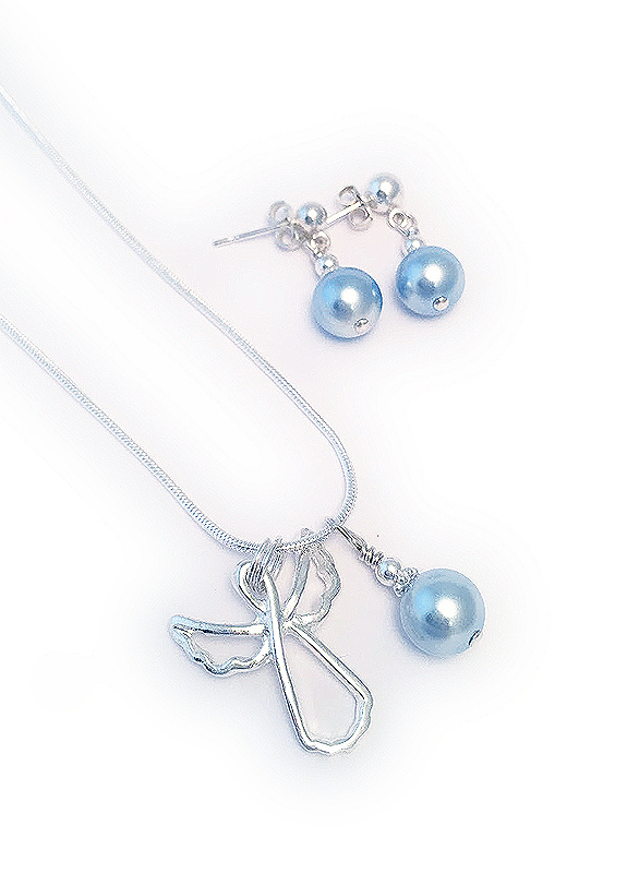 Guardian Angel Necklace & Earrings - Sterling SIlver Necklace