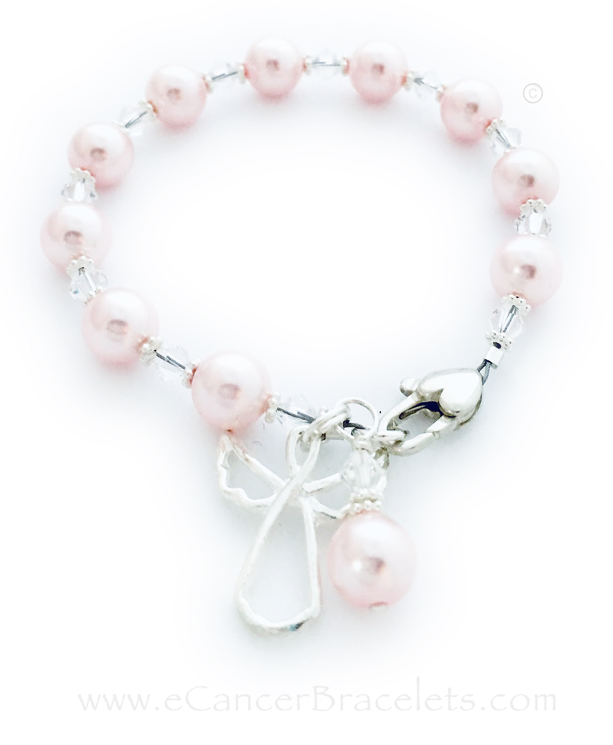 Guardian Angel Bracelet shown with Pink Swarovski Pearls. The charms shown come with the bracelet. *Shown with an upgraded Heart Lobster Claw Clasp.*