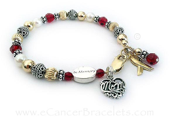 This red ribbon bracelet is an IN MEMORY of MOM Bracelet with red crystals for heart disease.