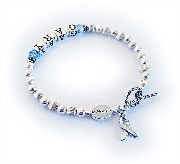 GARY In Memory Bracelet with sterling silver in Memory bead and Birthstone Crystal Dangle