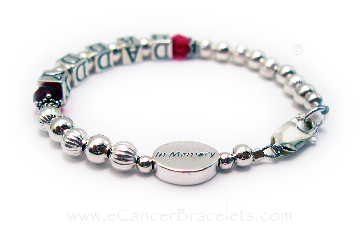 CBBRibbon 50   In-Memory of Daddy Bracelet. Shown with July or red Swarovski crystals and an IN MEMORY bead.