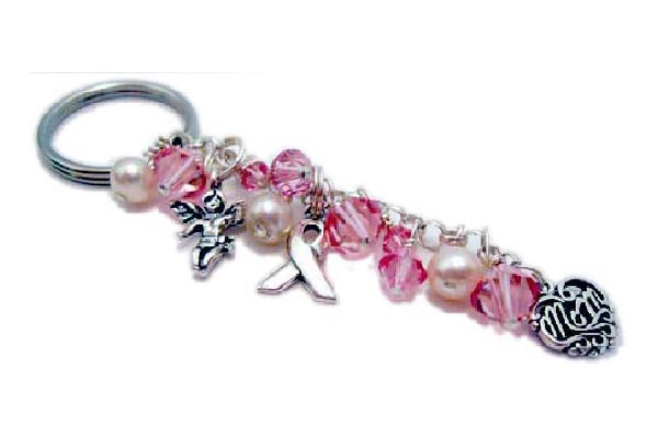 Pink Crystal Key Chain with Ribbon Charm, Mom Charm and Angel Charms