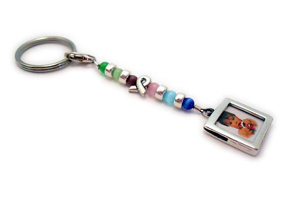 Cat's Eye Ribbon Key Chain with Picture Frame Charm