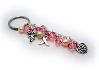 Pink Crystal Key Chain with Ribbon Angel and MOM charms