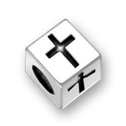 Sterling Silver Cross Block Bead