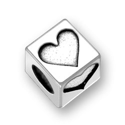 Sterling Silver Heart Block Bead