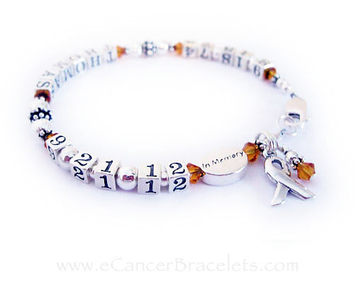 This life time bracelet is shown with Topaz (November) crystals and an add-on IN MEMORY bead.