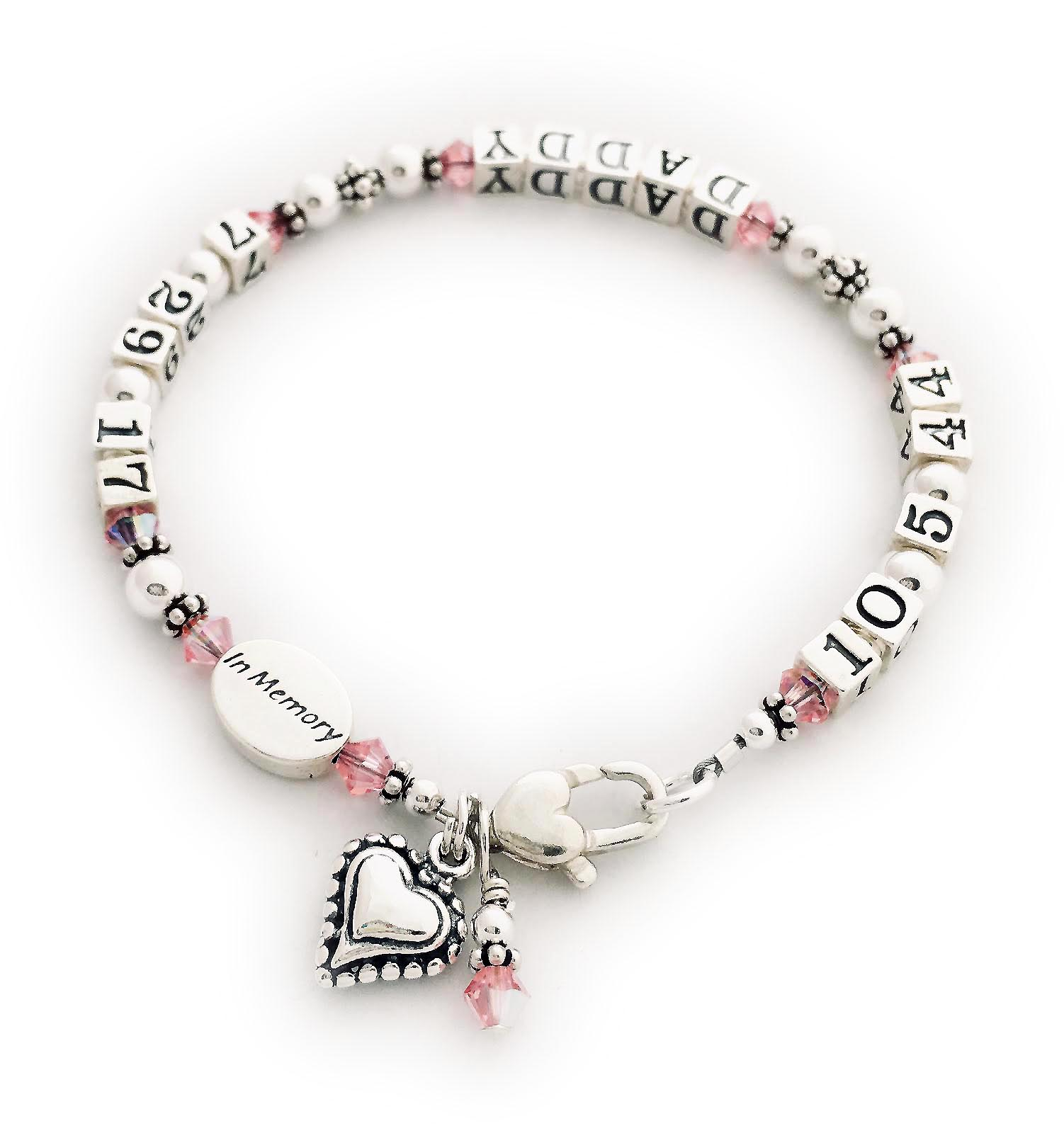 Lifetime or In Memory Bracelet for Daddys Little Girl - This life time bracelet is shown with October crystals and DADDY. Changes: They upgraded to a Heart Toggle clasp and took off the ribbon charm.